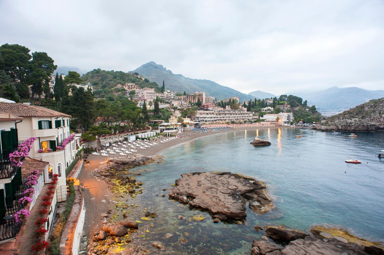 Villa Sant'Andrea, a luxury hotel flanking a cove below Taormina, Sicily that was built in 1830's as a private villa