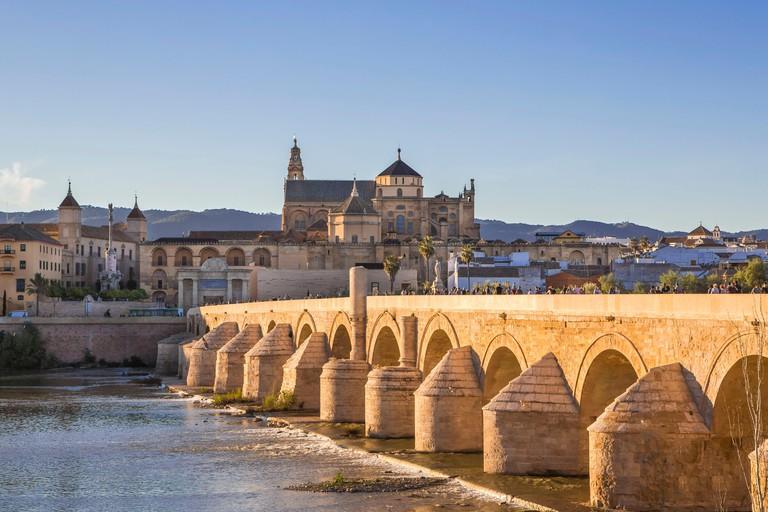 Spain, Andalucia Region, Cordoba City, Roman bridge, Cordoba Cathedral-Mosque