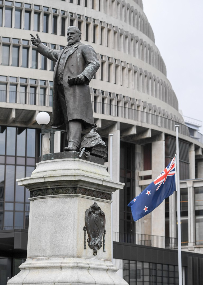Richard John Seddon statue at the Parliament House and Beehive building