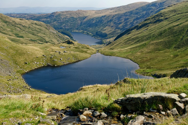 Small Water & Haweswater with Swindale & Mardale Commons beyond viewed from path to Nan Bield Pass, Lake District, Cumbria, UK
