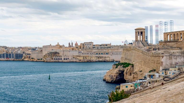 Fort Saint Elmo, star fort in Valletta, Malta stands on the seaward shore of the Sciberras Peninsula that divides Marsamxett Harbour from Grand Harbou