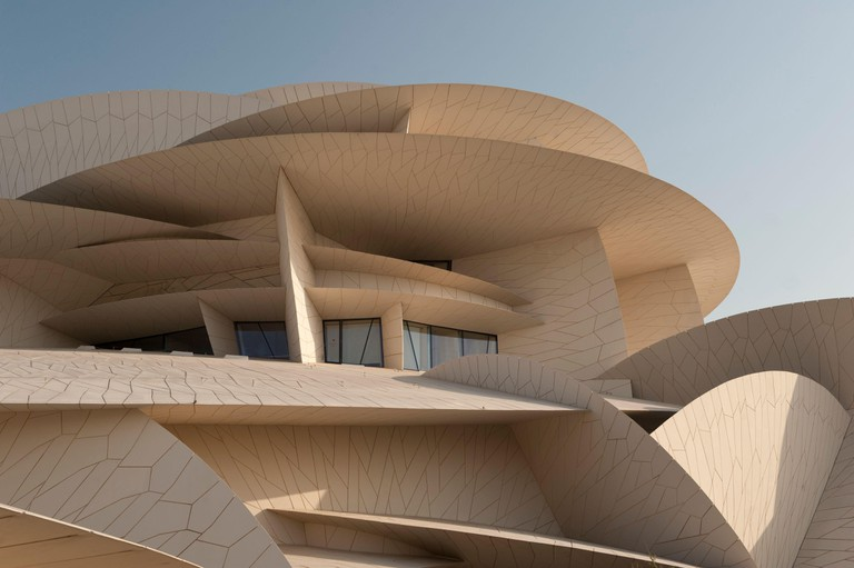 An exterior view of the iconic National Museum of Qatar, Doha, Qatar