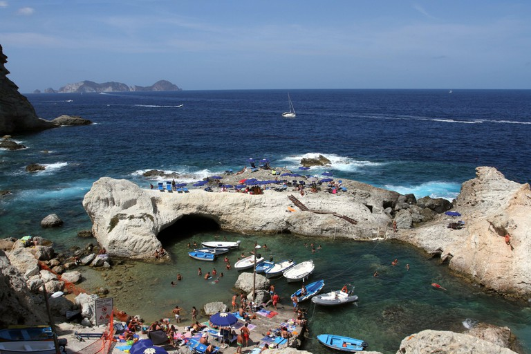 Bathers in Cala Fonte on the island of Ponza