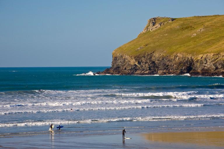 The popular surfing beach at Polzeath, North Cornwall.