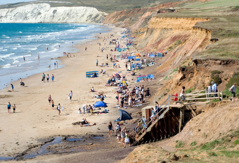 Summer, Sunbathing, Brook Beach, Isle of Wight, England, UK, GB.