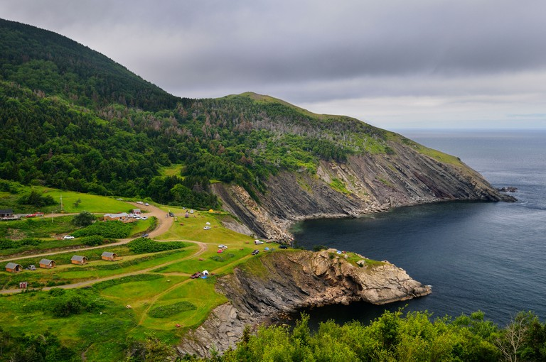 Meat Cove campgrounds and sea cliffs at the north tip of Cape Breton Island Nova Scotia Canada