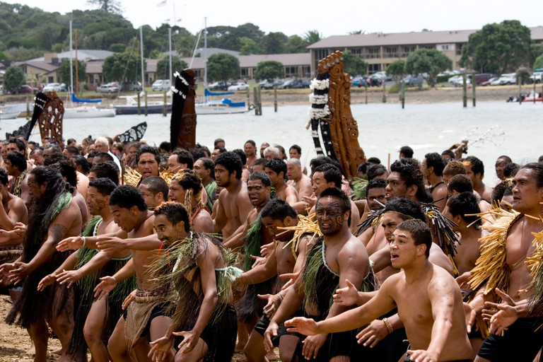 A Haka on Waitangi day in New Zealand
