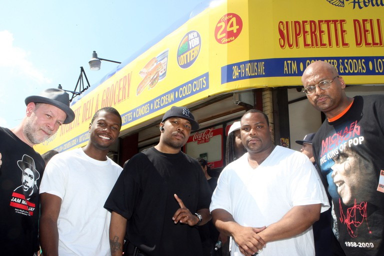 Bill Adler, Brian Miller, DJ Scratch, DJ Base and Big Jeff of Universal Zulu Nation 205th Street in Hollis is re-named Run DMS