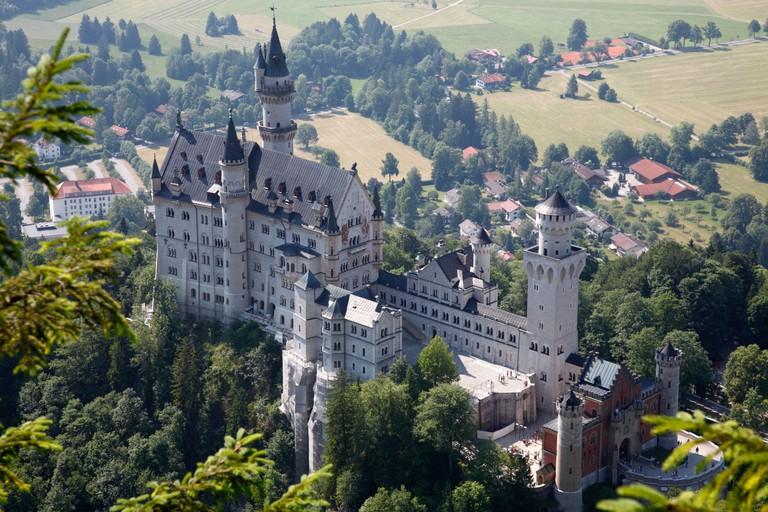 The Neuschwanstein Castle in Schwangau, Bavaria in Germany. Ostallgau. Allgau Alps.