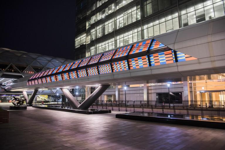 Camille Walala 3 - London Mural Festival - Adams Plaza Bridge, Canary Wharf, E14 - Photo credit - Sean Pollock