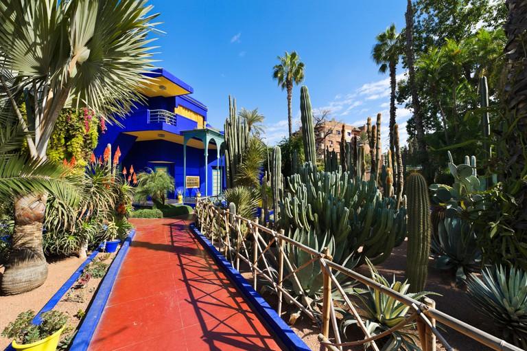 Jardin Majorelle. Art deco villa at the centre of the Majorelle Garden, Marrakech, Morocco, North Africa