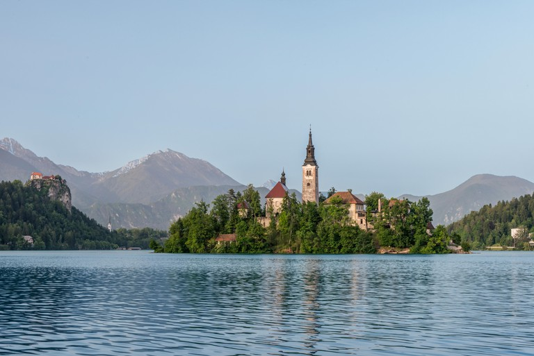 Church on island in lake, Bled, Upper Carniola, Slovenia