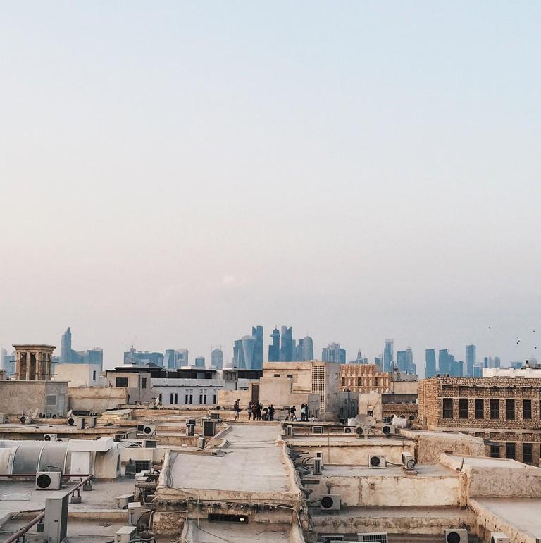 Qatar, Doha, Rooftops of souq