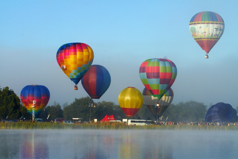 Hot air balloons, Balloons over Waikato Festival, Lake Rotoroa, Hamilton, Waikato, North Island, New Zealand