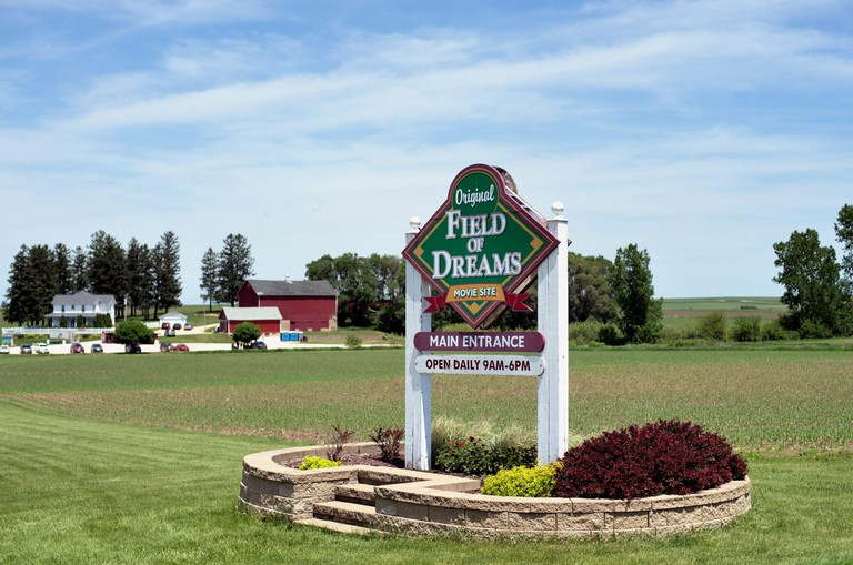 """Dyersville, Iowa, USA. The entrance to the field and grounds used in the movie """"Field of Dreams"""" were left in tact following the making of the film ."""