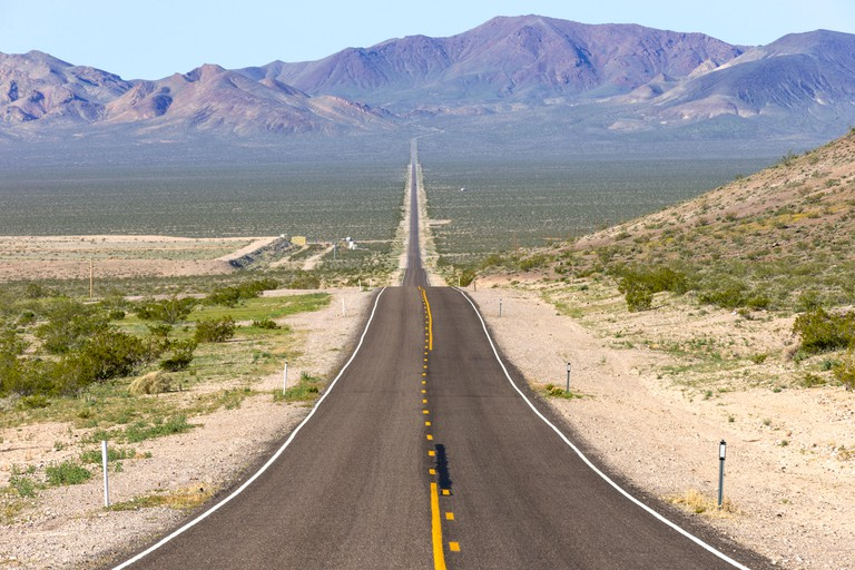 A panoramic view of State Route 374 runing from Beatty Nevada to Death Valley, California. Image shot 03/2016. Exact date unknown.