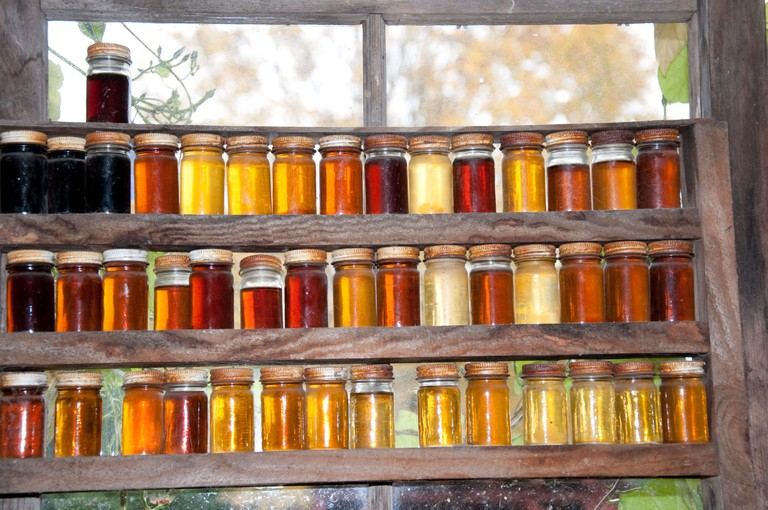 Maple Syrup Farm near Montpelier Vermont with grades of syrup shown