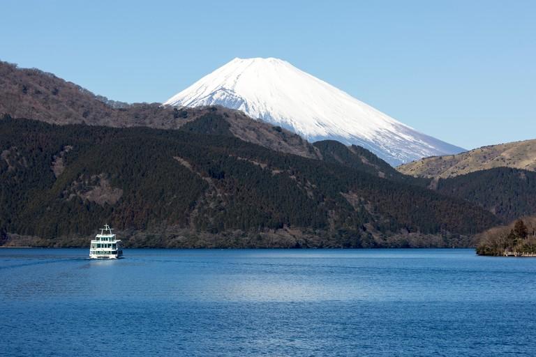 Mount Fuji viewed from Lake Ashi, Motohakone, Hakone