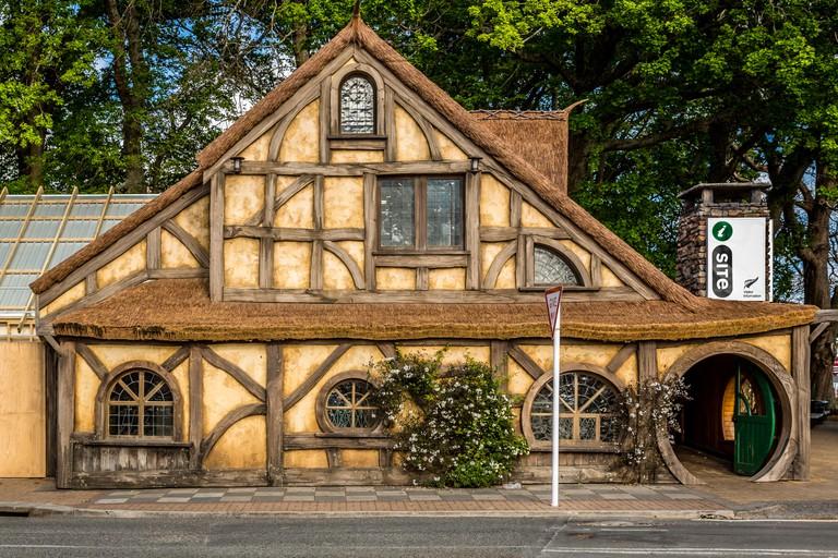Matamata I-Site or tourist information centre, looking like a Hobbit house, Matamata, North Island, New Zealand