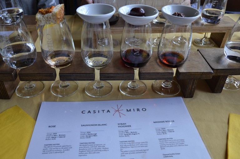 Wine tasting at the Casita Miro vineyard on Waiheke Island, Auckland, New Zealand