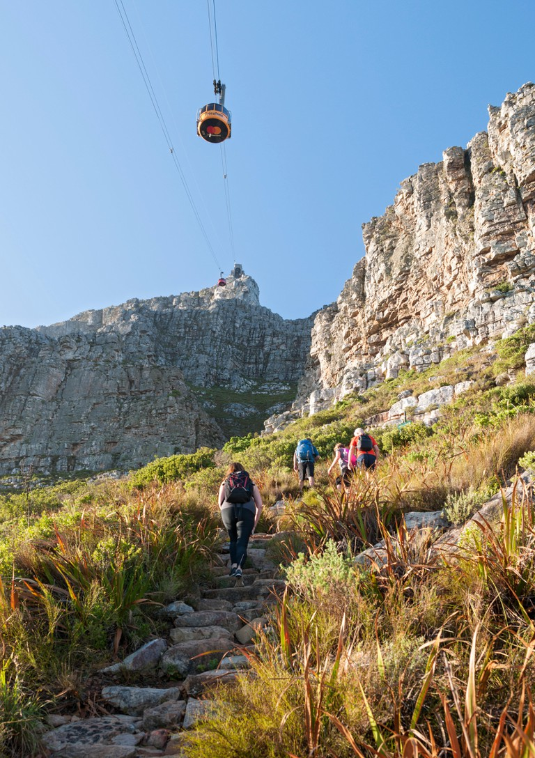 Hikers on the India Venster hiking path on Table Mountain in Cape Town.