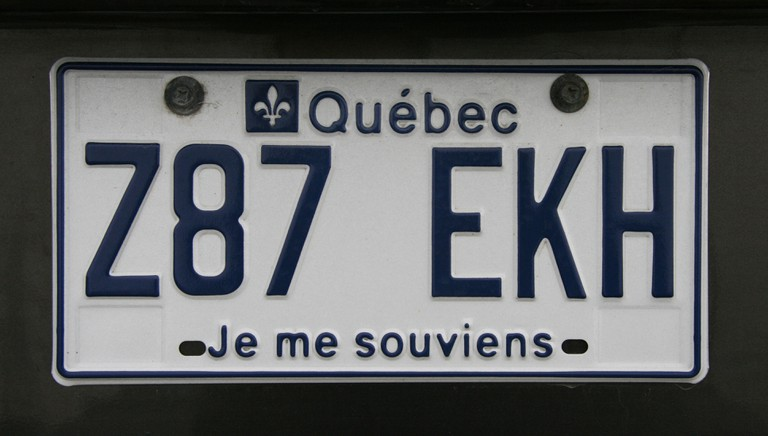 Vehicle license plate from the Canadian province of Quebec.
