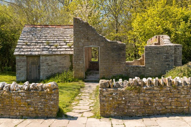 Ruin in the abandoned Tyneham Village near Kimmeridge, Jurassic Coast, Dorset, UK