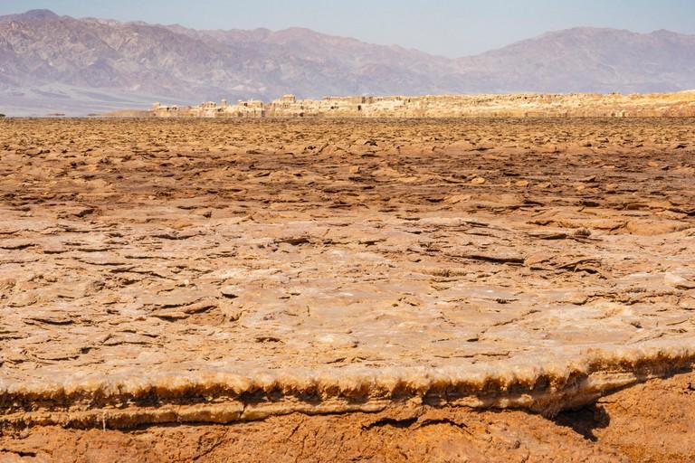 Concretions of salt rocks in the Danakil Depression in Ethiopia, Africa.