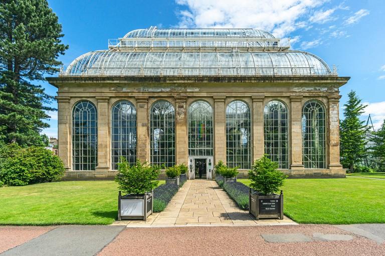 Entrance to The victorian temperate palm house at the Royal Botanic Garden Edinburgh Scotland UK