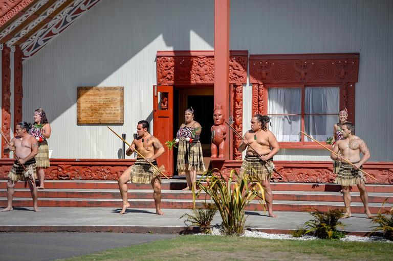 Welcome Ceremony, powhiri Cultural Performance, in front of the Assembly House, Rotowhio Marae, Te Puia, Whakarewarewa, Rotorua, Bay of Plenty, New. Image shot 2013. Exact date unknown.