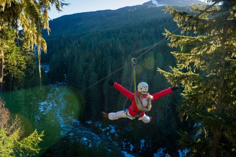 Whistler, BC, Canada: Ziplining at Ziptrek Eco Tours - Stock Photo