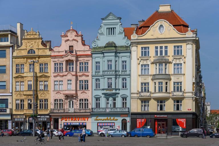 Old houses on Republic Square, Pilsen, Czech Republic. Image shot 2019. Exact date unknown.