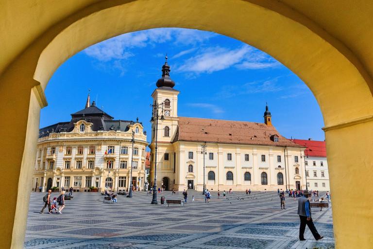 Sibiu, Romania. Large Square and City Hall. Transylvania medieval city.