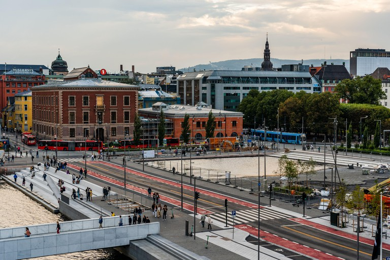 Editorial 08.31.2019 Oslo Norway View of the downtown area with traffic and people in the fall evening