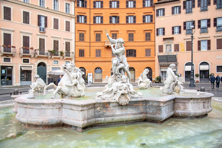 ROME, ITALY - MAY 05, 2019: Fountain of Neptune, Italian: Fontana del Nettuno on Piazza Navona in Rome Italy