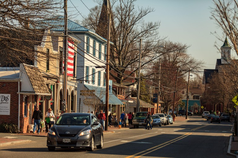 The Main Street of St Michaels, Maryland.
