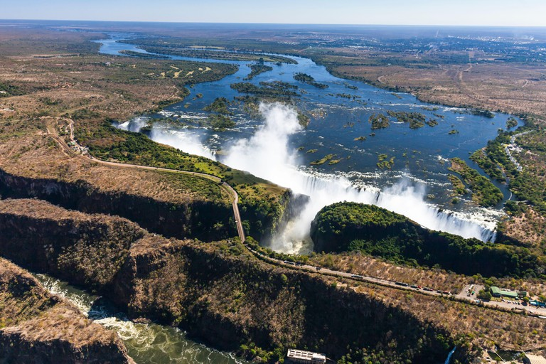 Aerial view by helicopter of Victoria Falls and Zambezi River