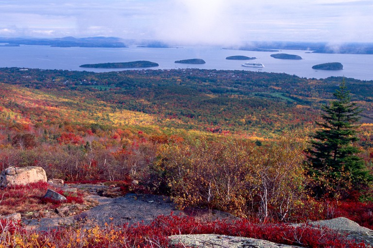 Colorful Autumn Vista of Bar Harbor as viewed from Cadillac Mountain, Mt Desert Island, Maine