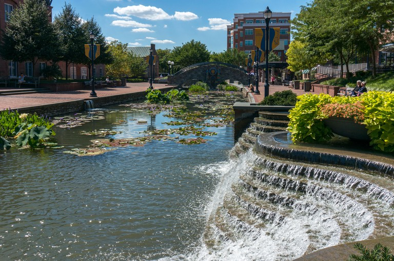 Promenade and waterfall in Carroll Creek Park in Frederick, Maryland