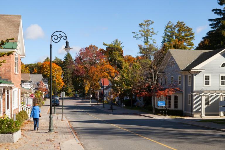 Lenox town street, The Berkshires, Massachusetts MA USA