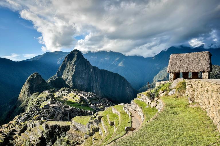 Guardhouse (right) and Machu Picchu ruins, Cusco, Peru