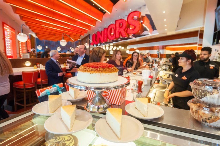 New York, USA. 26th June, 2017. Display of cheesecakes at the ceremonial ribbon cutting of the second Times Square branch of Junior's Restaurant. in the former Ruby Foo's space, on Monday, June 26, 2017. The original Junior's is located in Downtown Brookl