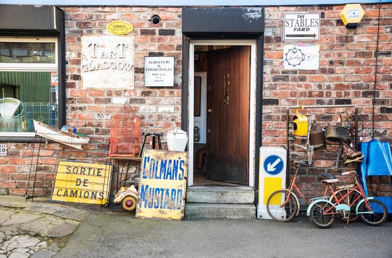 Tart second hand bric-a-brac shop in the Hidden Lane Glasgow