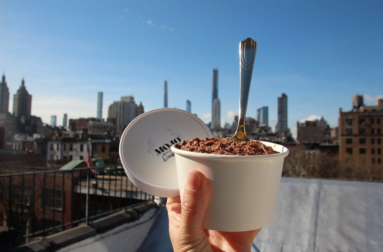 """31 March 2020, US, New York: Chocolate mousse from the """"Mojo Desserts Mousse Bar"""" in northeast Manhattan. However, the mousse au chocolat of the Belgian chef J. Halsberghe, who previously worked as the private chef of the Belgian UN ambassador, is the foc"""