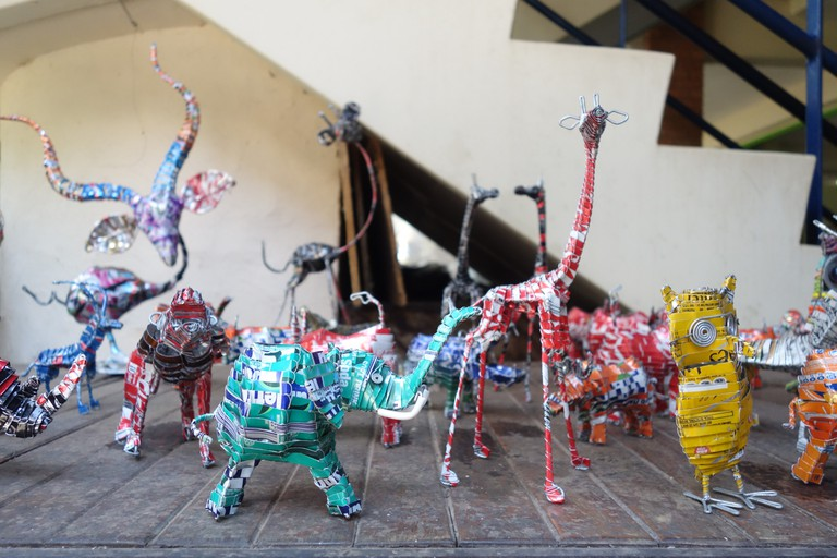 Recycled can animals at Victoria Falls Craft Market