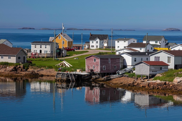 Fishing stages and houses, Barr'd Islands, Fogo Island, Newfoundland and Labrador, Canada