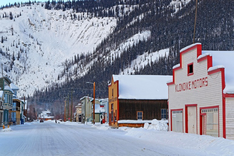 DAWSON CITY, YUKON, CANADA, March 10, 2019 : A street of the city, linked to the Klondike Gold Rush and featured prominently in the novels of American