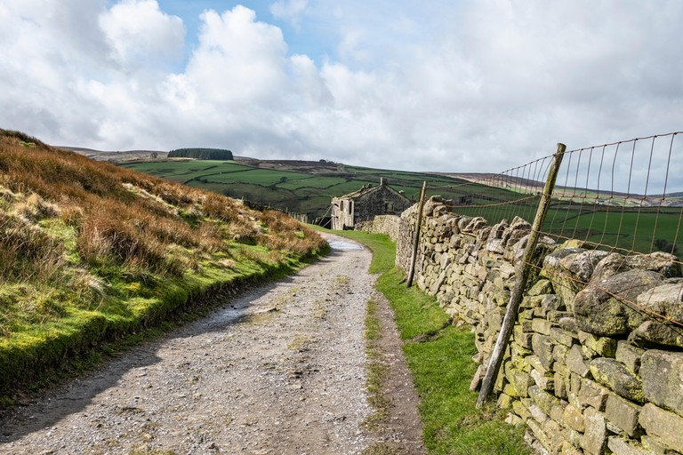 Path Way leading towards Top Withens on Haworth Moor, Bronte Country, Haworth, West Yorkshire, UK