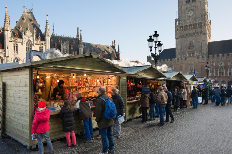 Christmas Market in the Grote Markt (Main Square) in the centre of the old town, Bruges, Belgium