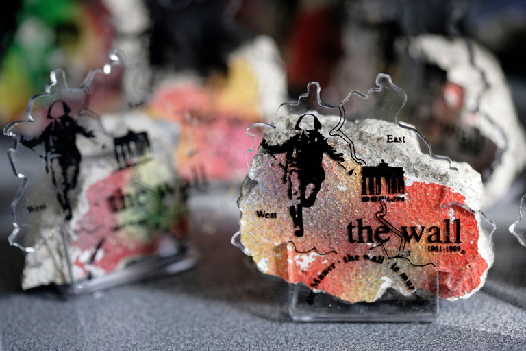 Germany, Berlin, fragments of the Berlin Wall selling as souvenirs